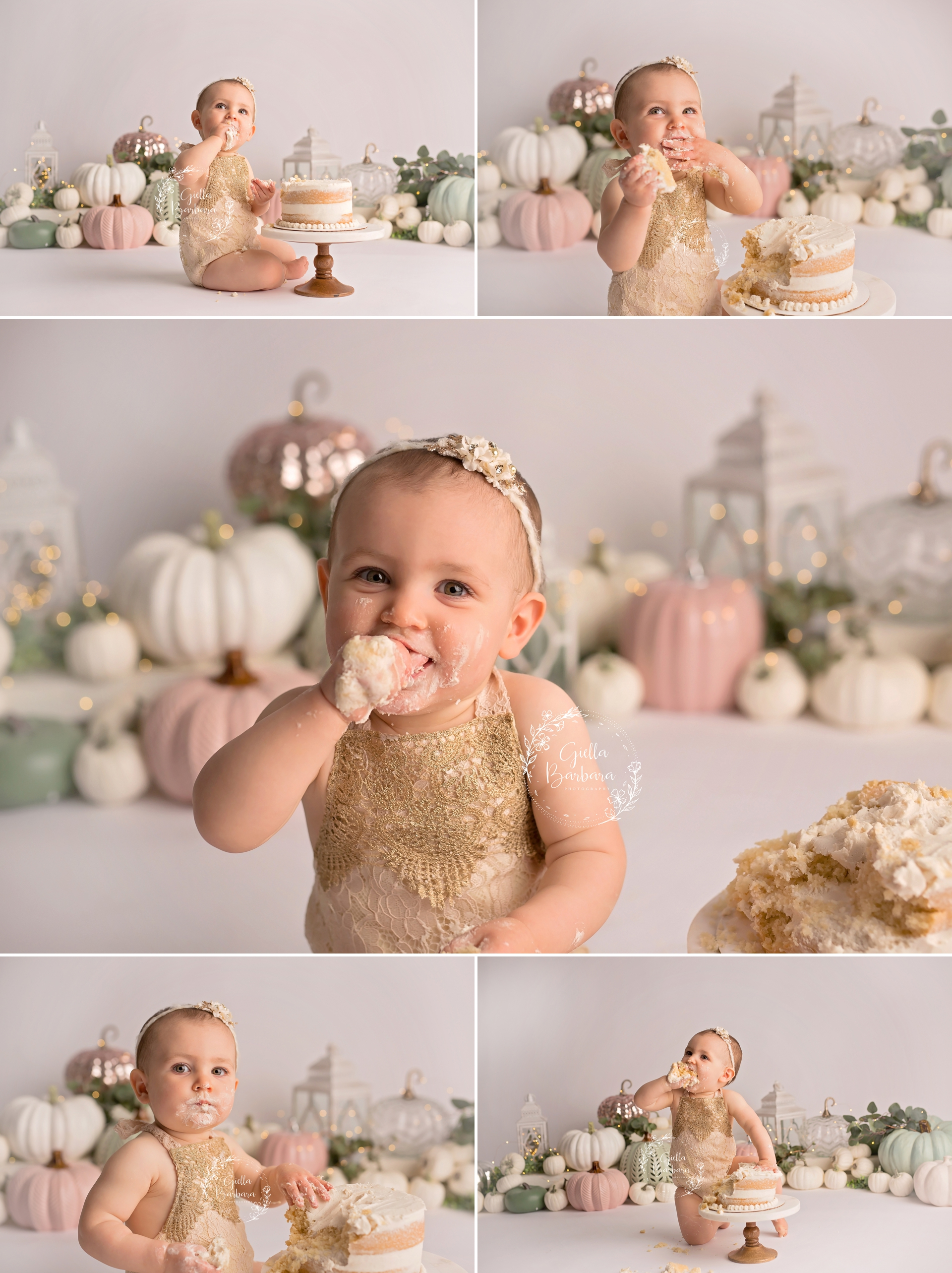 baby girl fall cake smash