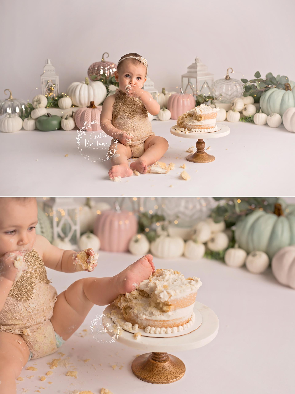 smashing the cake