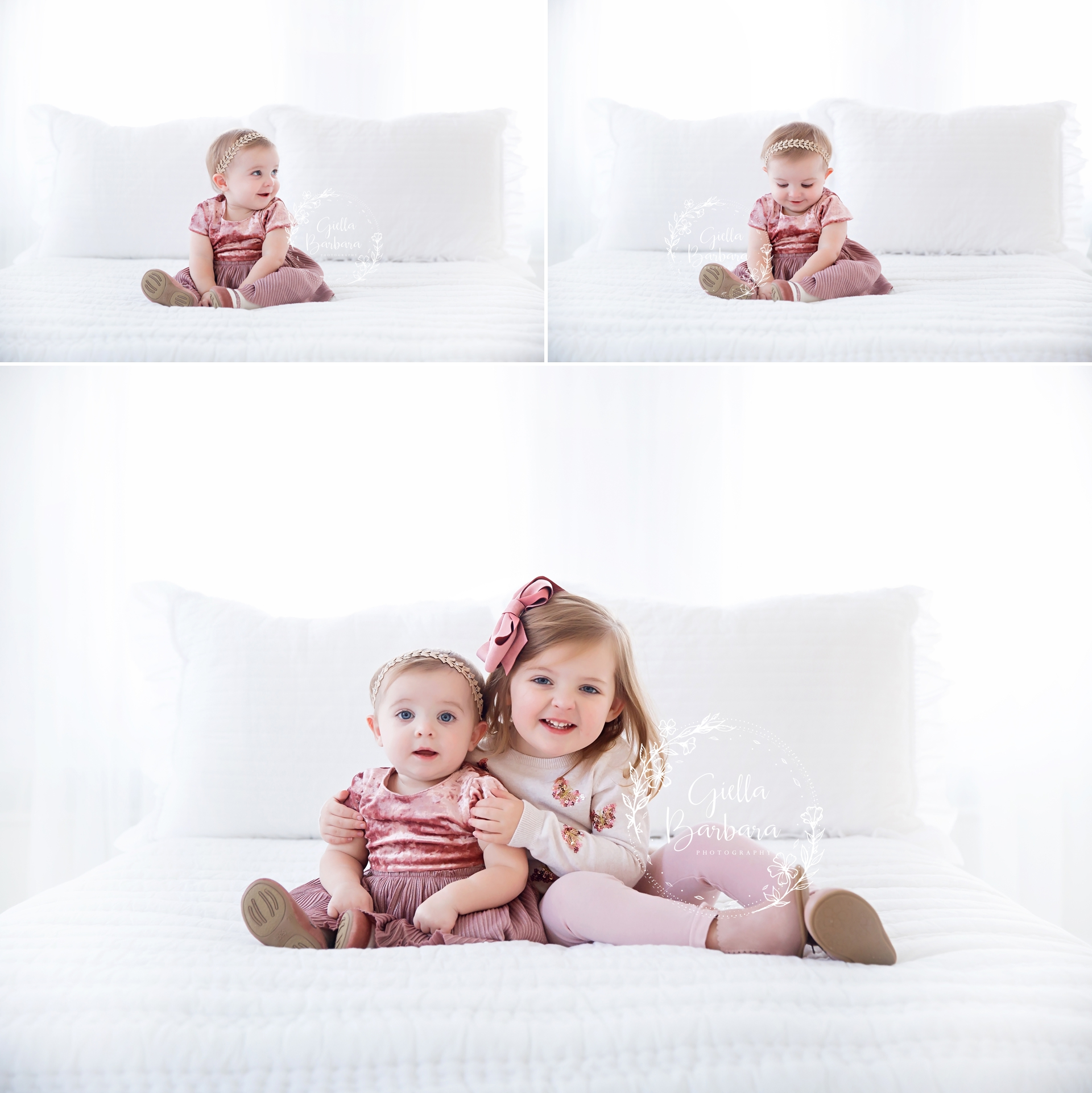 Sisters on a bed
