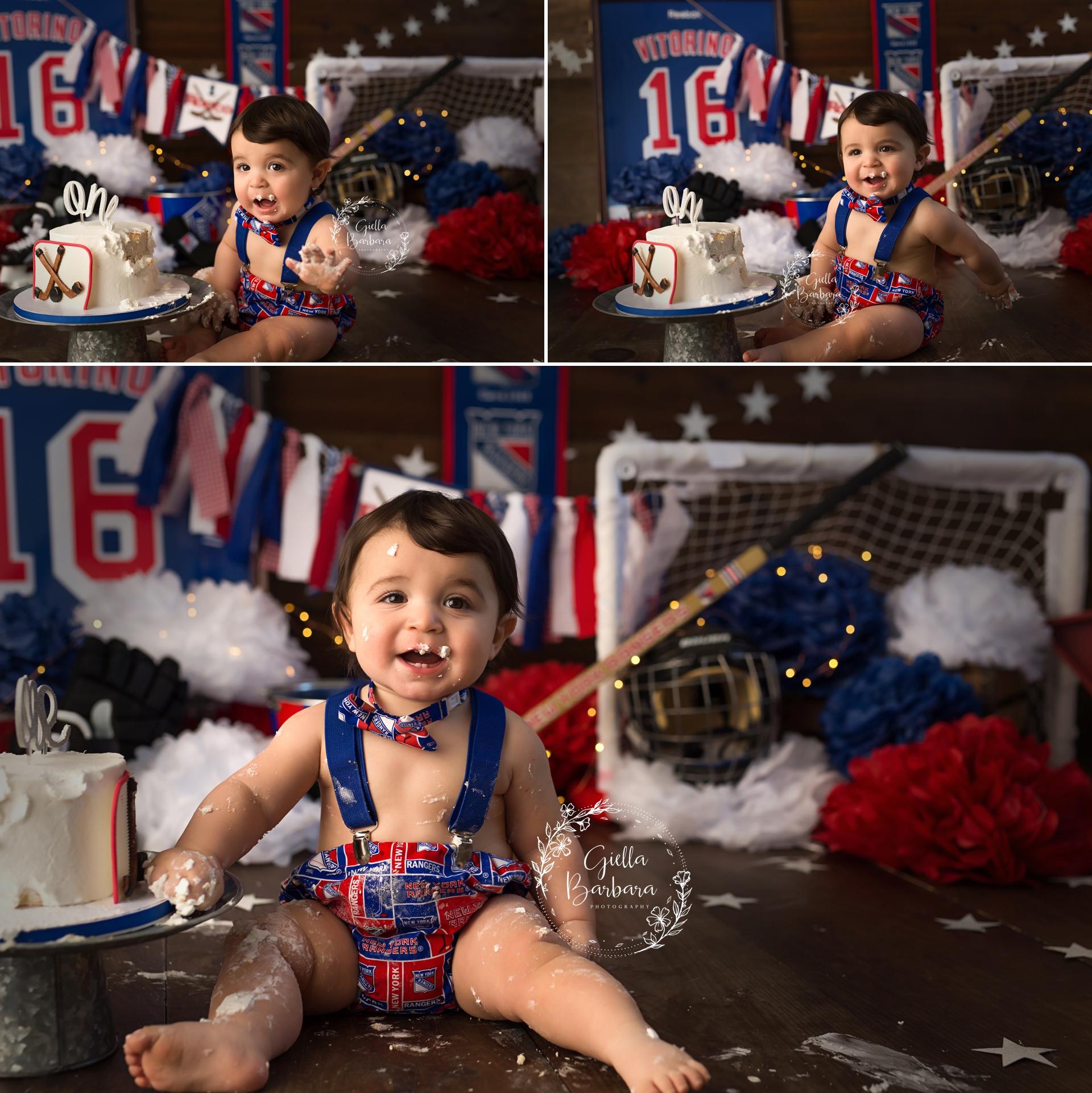 New York Rangers cake smash