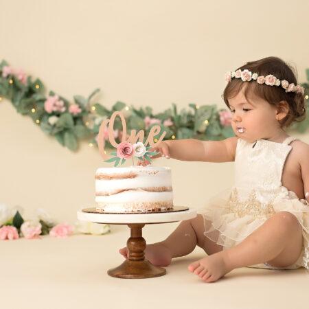 Vivienne ~ Boho Floral Cake Smash ~ NJ Baby Photographer